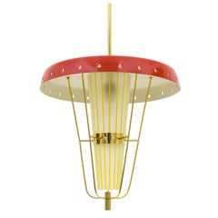 1950s Italian Lantern in Brass, Glass and Lacquered Aluminum