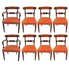 Set of Eight Regency Mahogany Brass Inlaid Leather Upholstered Dining Chairs