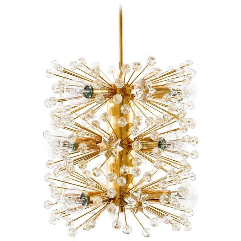 Emil Stejnar Sputnik Pendant Light or Chandelier, Gilt Brass Glass Crystal