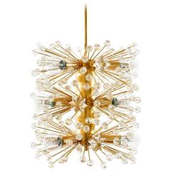 Emil Stejnar Sputnik Pendant Light or Chandelier, Gilt Brass Crystal Glass, 1960