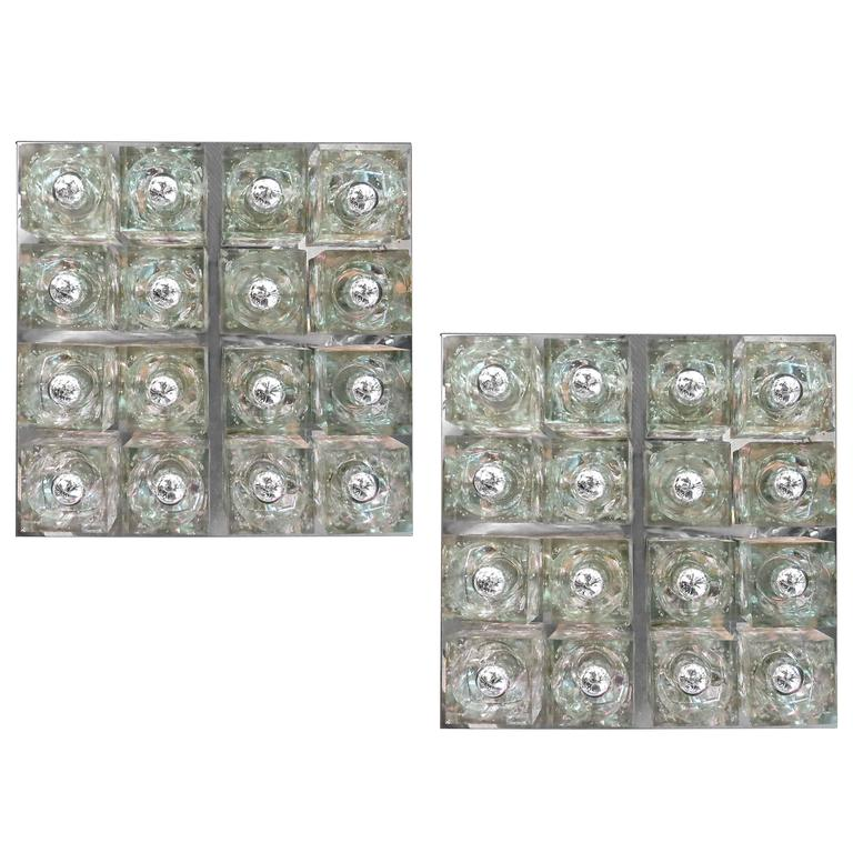Pair of Lightolier Lights With 16 Glass Blocks Each, USA Circa 1975