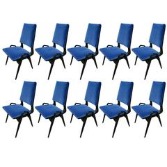 Set of Ten 1960s Gio Ponti Style Dining Chairs