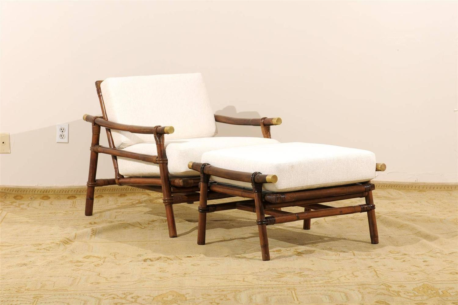 Superb pair of campaign lounge chairs and ottomans by wisner for ficks