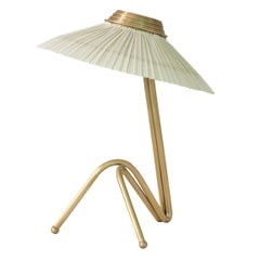 Freevolle sculpture Table Lamp, handmade brass body, ivory linen