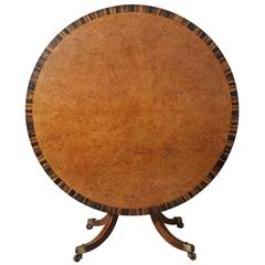 English Regency Burr Elm and Calamander Center Table