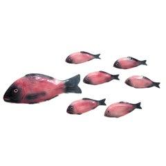 Spanish Mid-century Modern Set of Pink  & Grey Glazed Ceramic Fishes