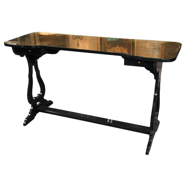 Maison Jansen Ebonized Console Table Eglomise Gilt Glass Top Over Two Drawers
