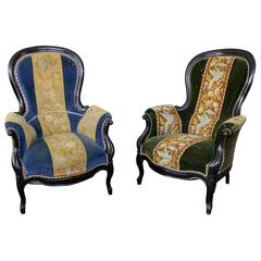 Pair of French 19th Century Chairs Upholstered in Velvet and Tapestry