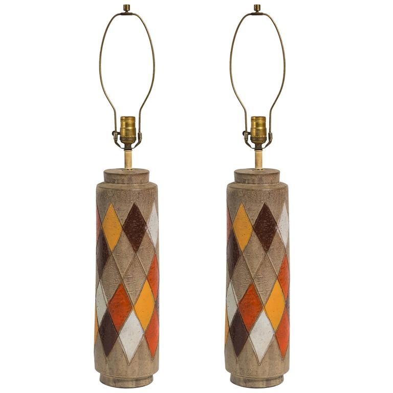 Pair of Bitossi Italian Ceramic Harlequin Lamps For Sale