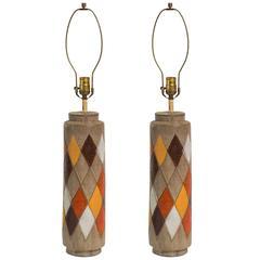 Pair of Bitossi Italian Ceramic Harlequin Lamps