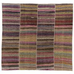 Vintage Banded Turkish Flat-Weave Kilim Rug