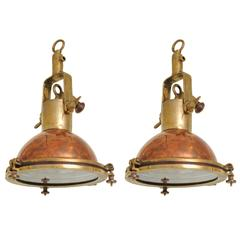 Pair Mid-Century Brass and Copper Ship Light