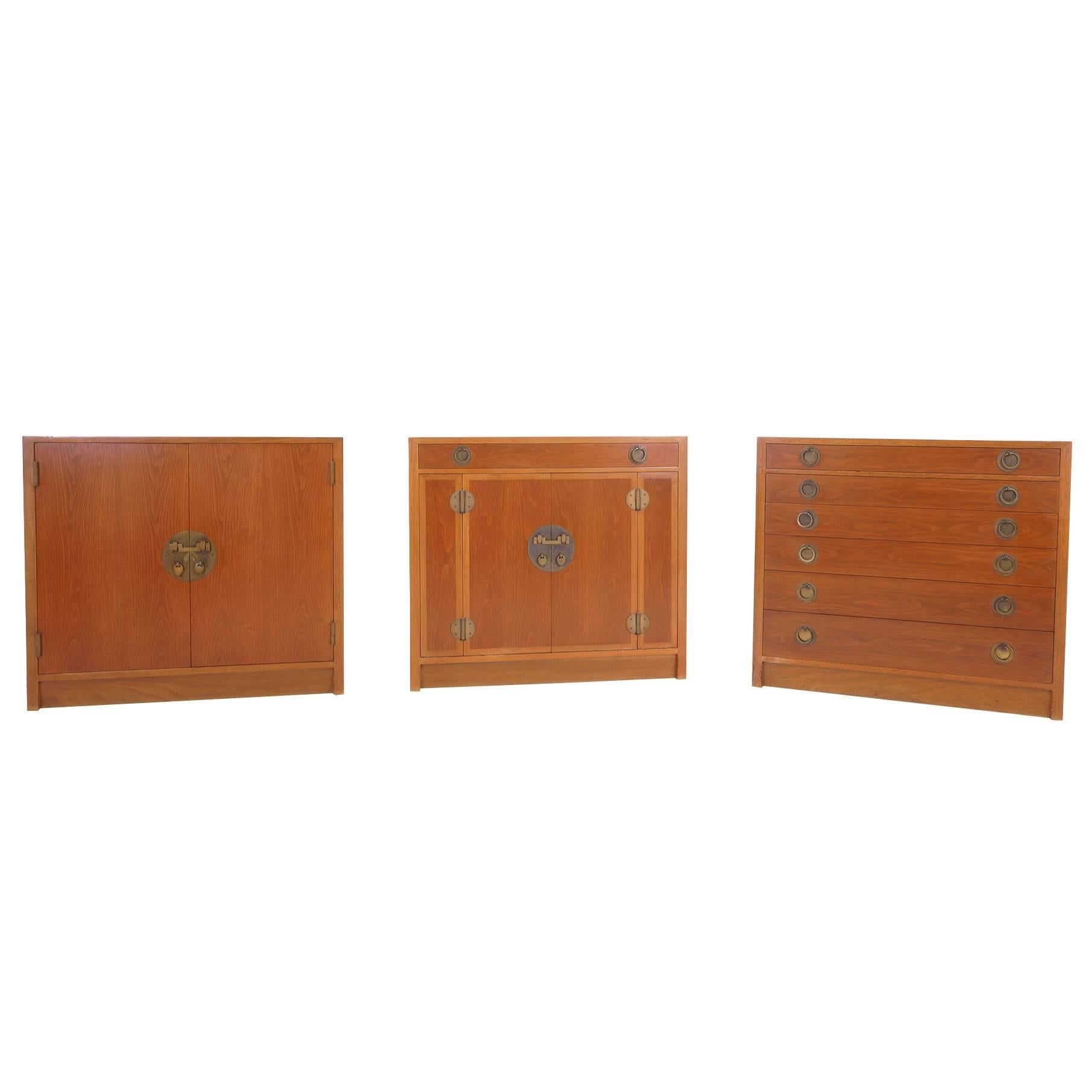 Three Storage Cabinets by Edward Wormley for Dunbar. Completely Original.