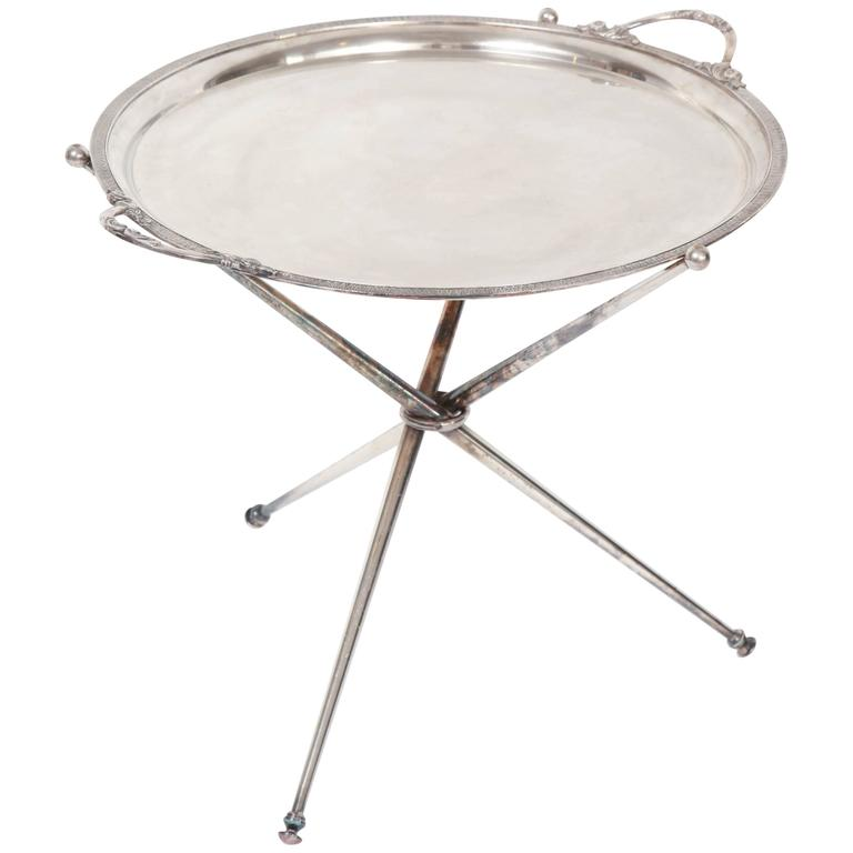 Silver Coffee Table Plate: Silver Tray Table On Stand At 1stdibs