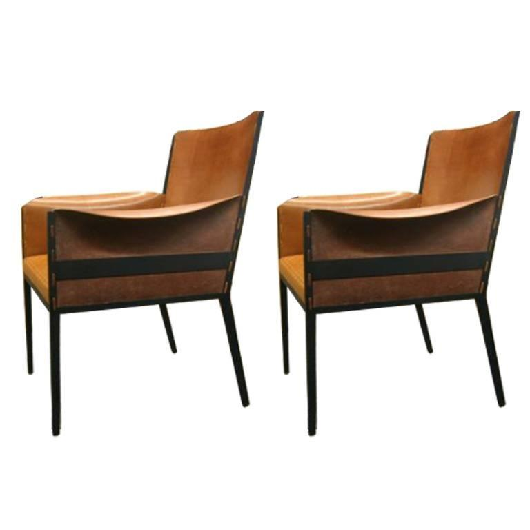 Pair  French Jean Michel Frank 1940's Style Chairs.