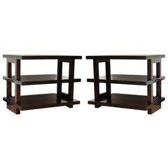 Pair of Rectangular Three-Tier Side Tables, Custom-Made to Order