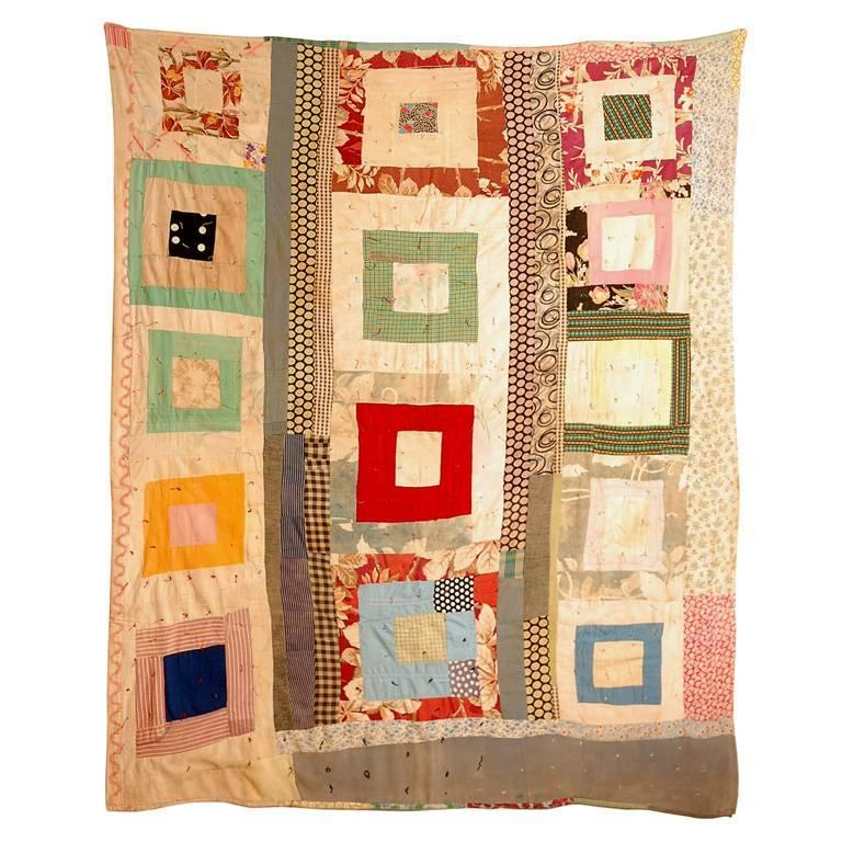 Gees Bend African American Concentric Squares Quilt For Sale