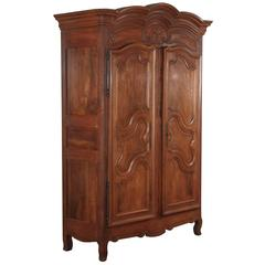 French Louis XV Walnut Armoire, circa 1800s