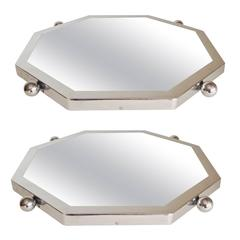 Pair of Art Deco Chrome Framed Hexagonal Mirrored Lazy Susan Display Trays.