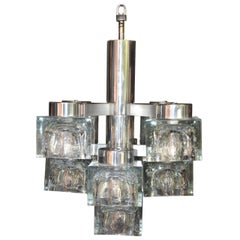 1960's Italian Scolari Glass Cube And Chrome Chandelier