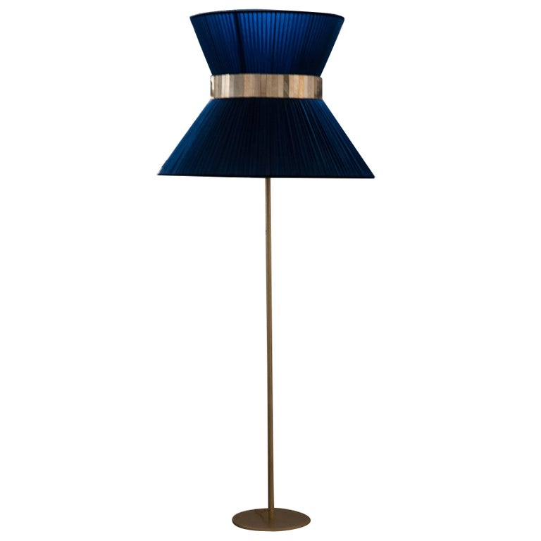 Tiffany contemporary Floor Lamp blue Silk, Antiqued Brass, Silvered Glass      For Sale