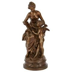 Antique French Patinated Bronze Group by Moreau