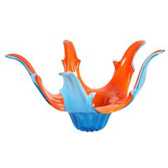 Colorful Murano glass centerpiece in blue turquoise and vibrant orange.