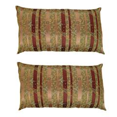 Pair of Large Decorative Satin Pillows w/ Vintage Striped Brocade on Both Sides