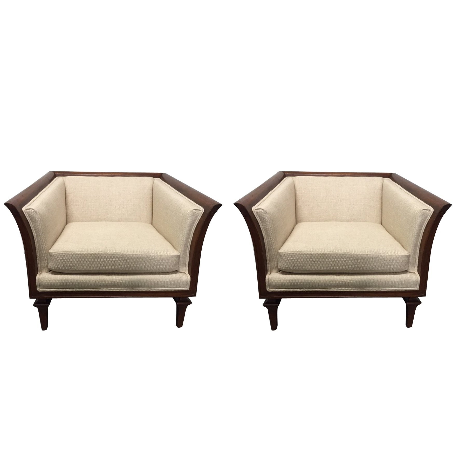 Pair of Sculptural Walnut Lounge Chairs