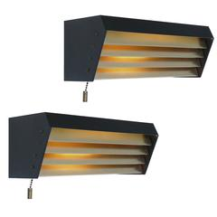 Rare Pair of 1950s Gerald Thurston Lightolier Louvered Wall Mount Lamps