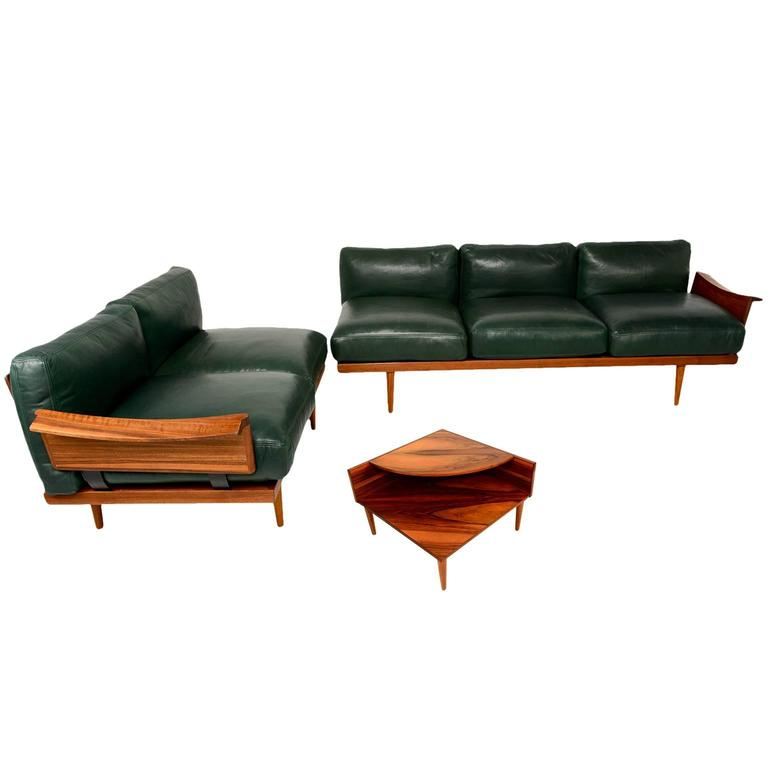Scandinavian Sofa Set In Rosewood And Leather For Sale At