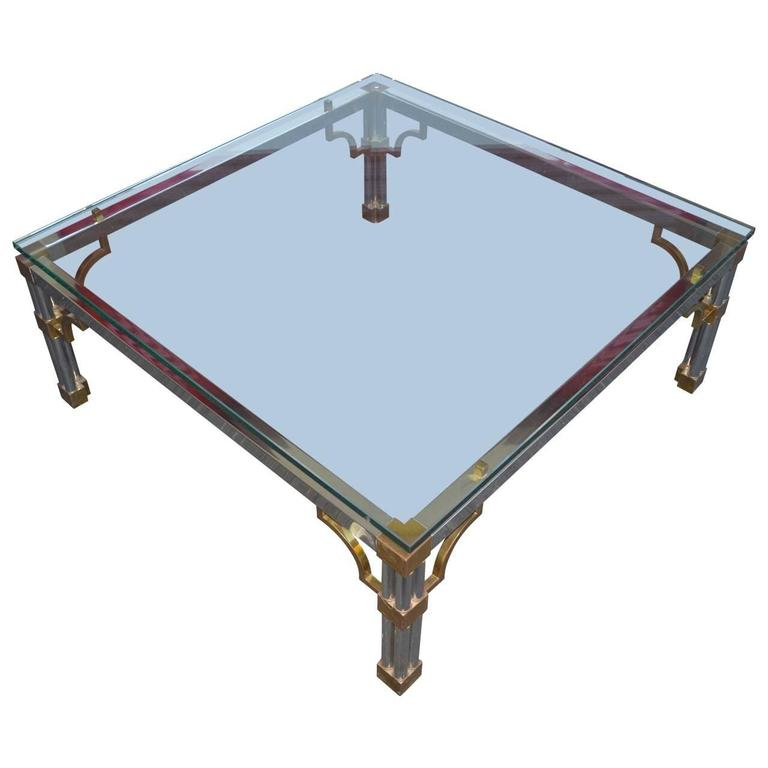 John Vesey Chrome And Glass Top Sofa Table For Sale At 1stdibs