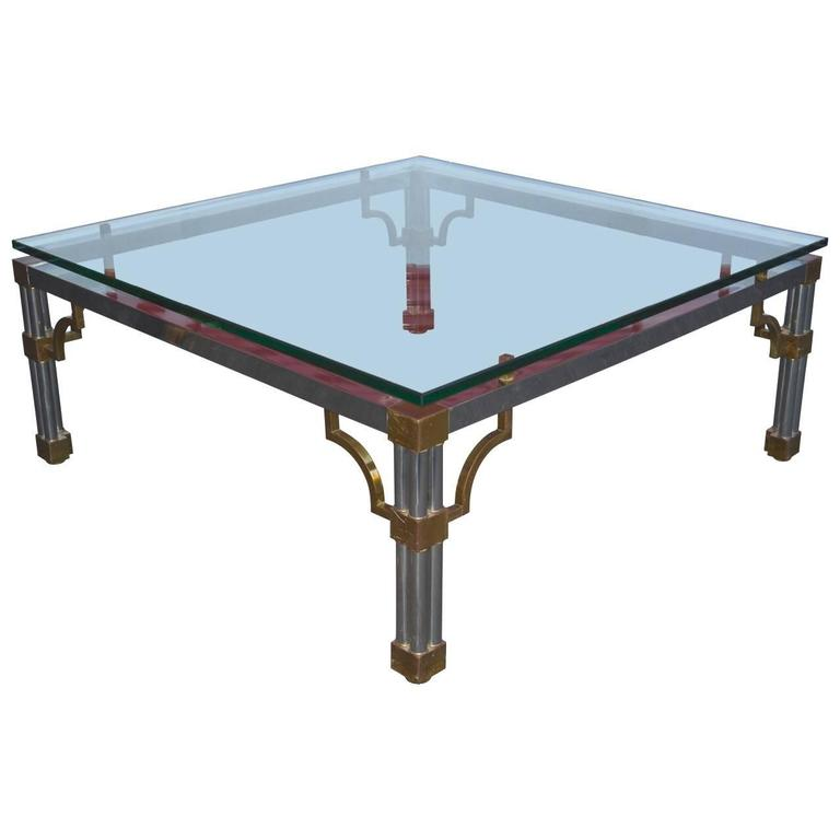 John Vesey Chrome and Glass Top Sofa Table