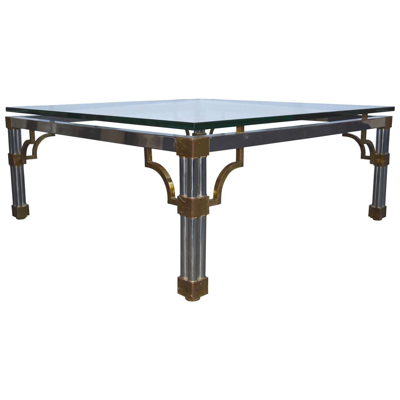 vesey chrome and glass top sofa table for sale at 1stdibs