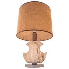 Table lamp, Ceramic shell shaped, metal base, Circa 1970, France.
