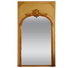 Large Cream and Gilt Trumeau Mirror, French, circa 1900