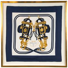 Hermes Scarf Framed in Gilted Frame