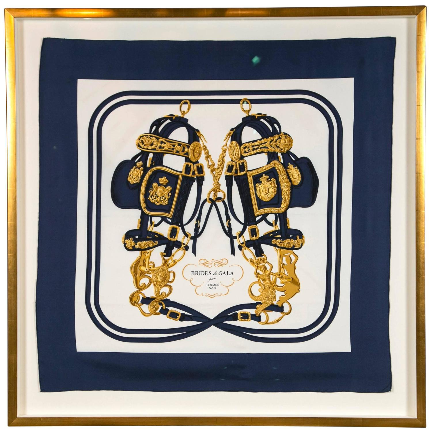 hermes scarf framed in gilted frame for sale at 1stdibs