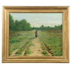 Wallace Bryant Antique Oil Painting of Figure on Path, circa 1895