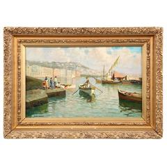 Italian Antique Oil Painting of Coastal Fishermen by Lazzaro Pasini