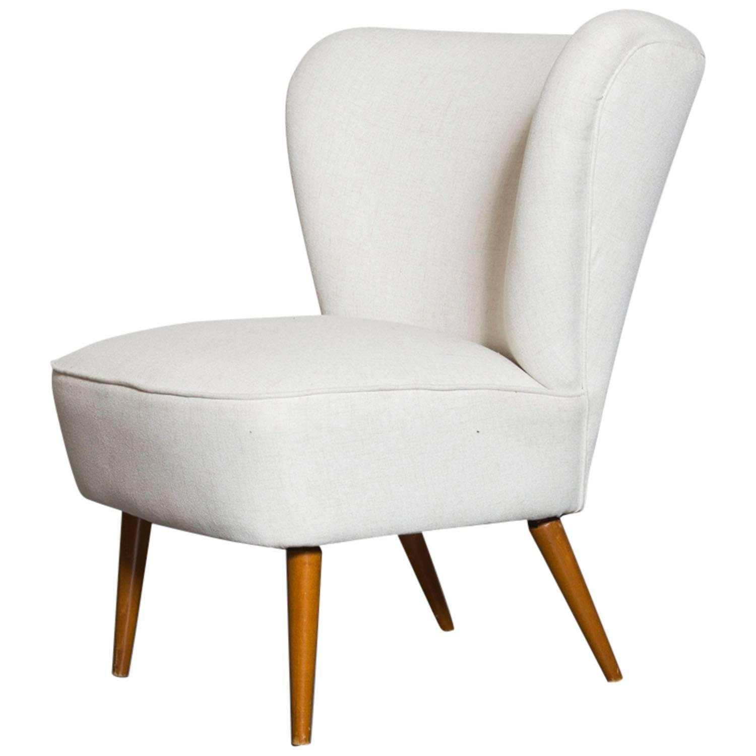 Armless Small Wing Back Boudoir Lounge Chair At 1stdibs