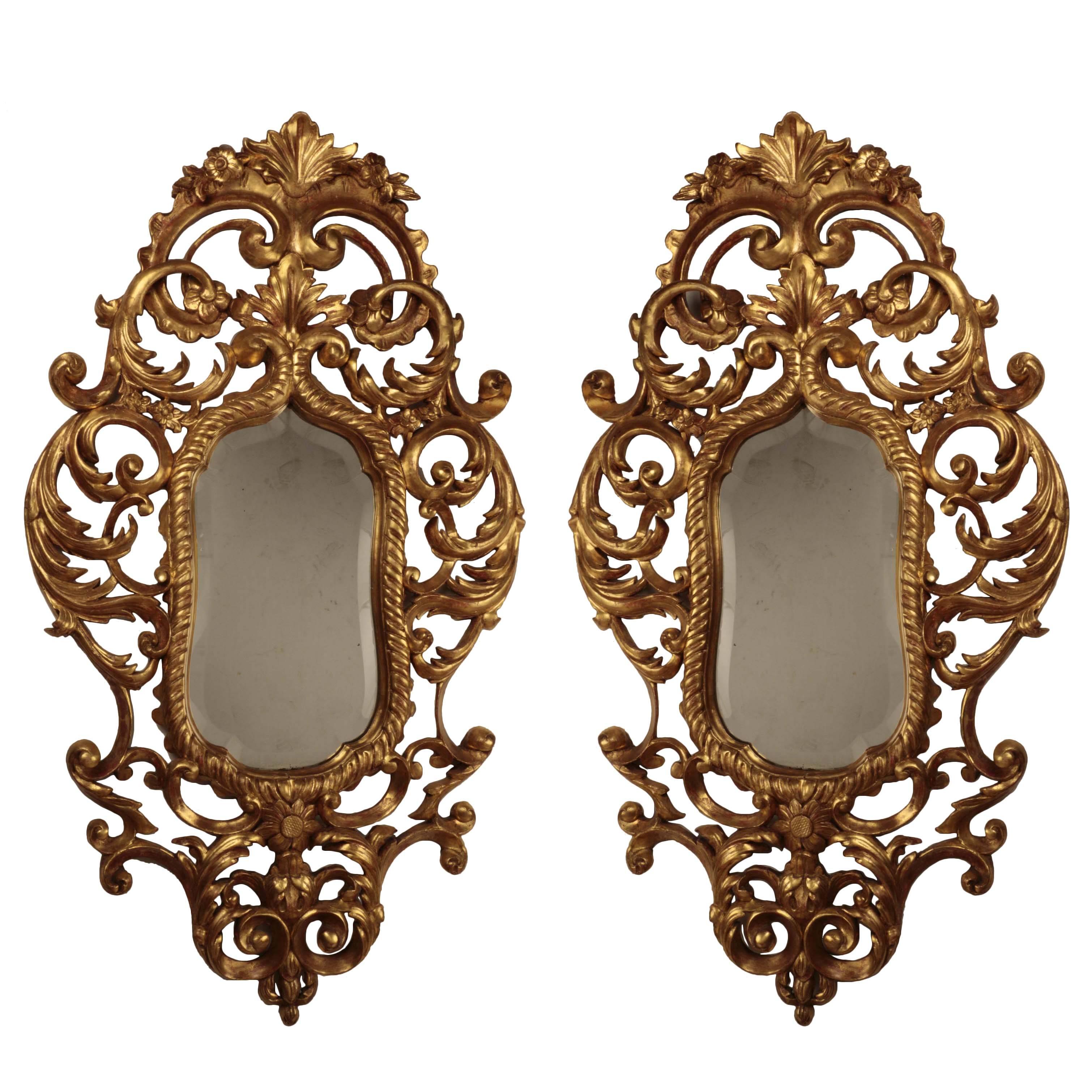 Pair of Italian  Giltwood Rococo  Mirrors