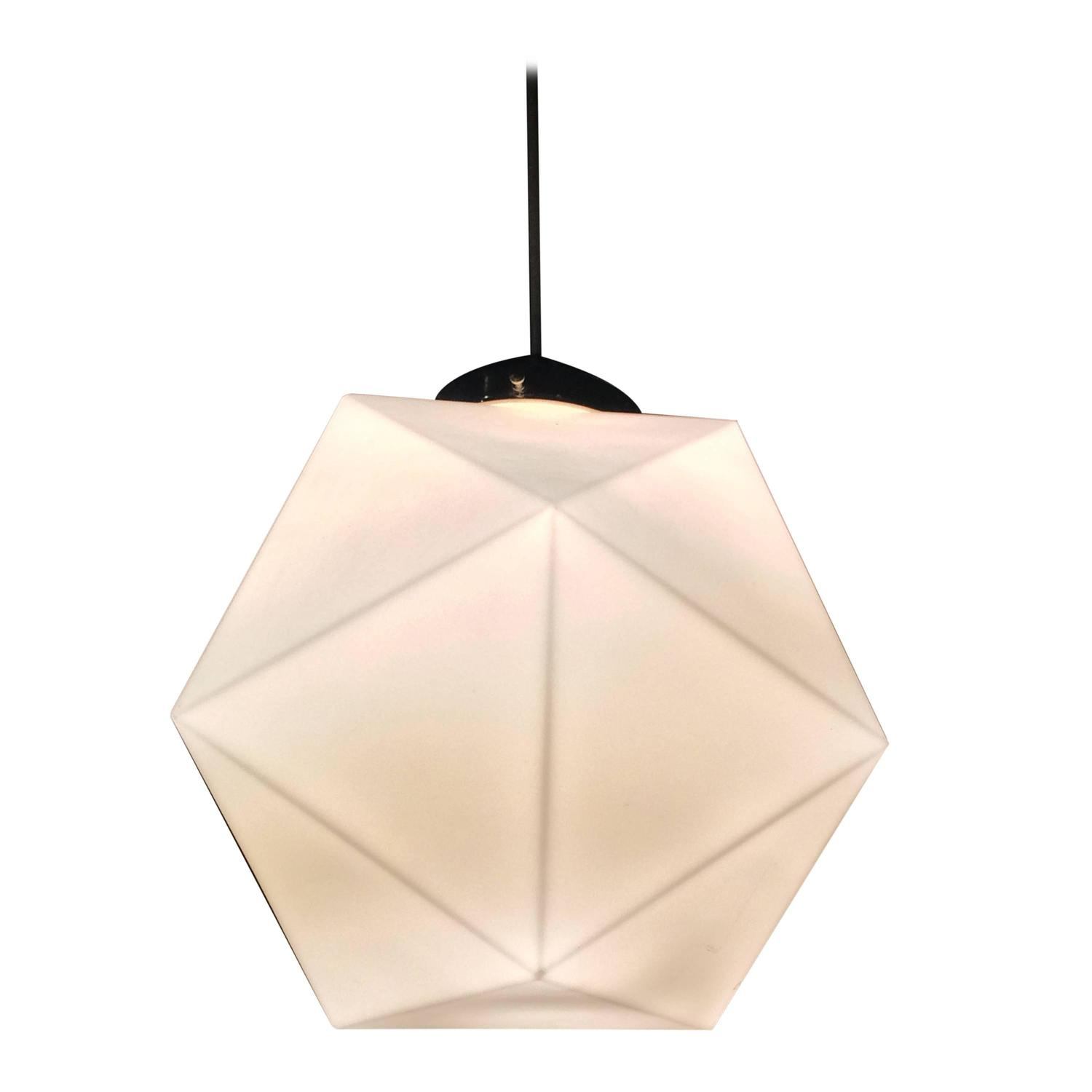 Well known Mid-Century Faceted Milk Glass Geometric Pendant Light at 1stdibs LB93