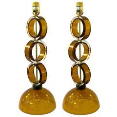 1970s Italian Pair of Amber Murano Glass Disks Lamps by Alberto Dona