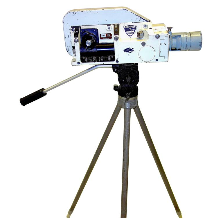 Military Analysis Cine Camera Mid-20th Century Sculpture with Vintage Tripod