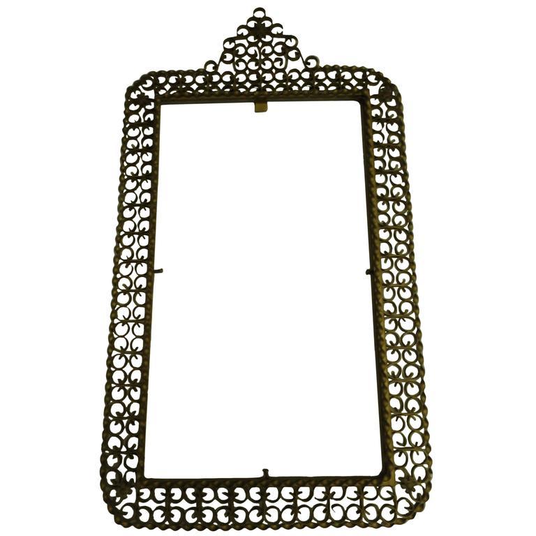 Italian Bronzed Iron Filagree Wall Mirror Attributed to Maison Jansen