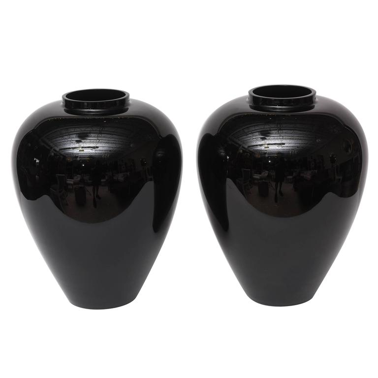 Pair Of Large Black Murano Vases By Barovier E Toso For Sale At 1stdibs
