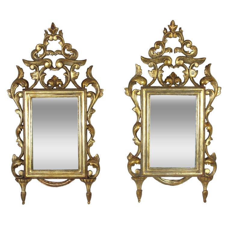 Pair of 19th Century Spanish Rococo Style Giltwood Mirrors