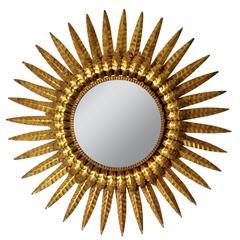 Spanish Double Layer Gilt Iron Sunburst Backlit Mirror