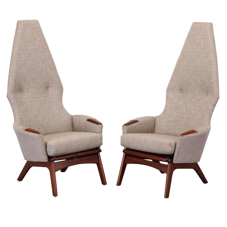 Adrian Pearsall Pair of Walnut High Back Chairs for Craft Associates, 1960
